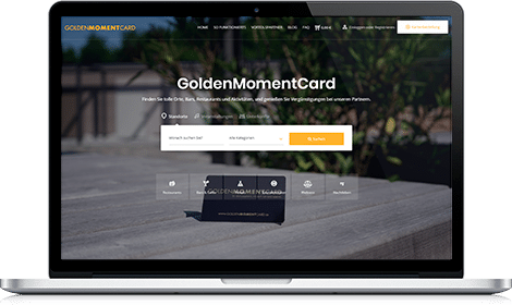 MacBook mit GoldenMomentCard Webseite