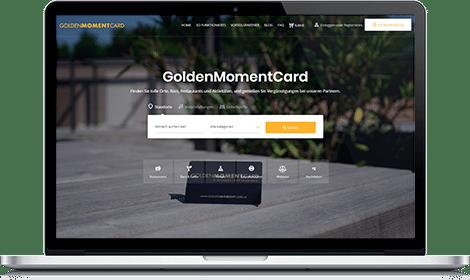 MacBook mit GoldenMomentCard Webseite